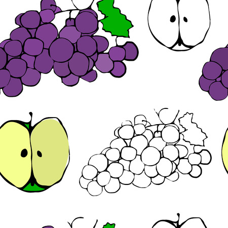 Seamless background fruit pattern with apples and grapes Иллюстрация