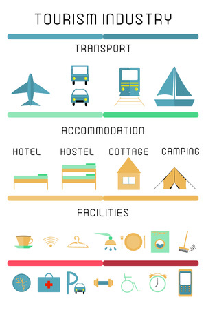accomodation: Set of tourism industry. Colorful design elements
