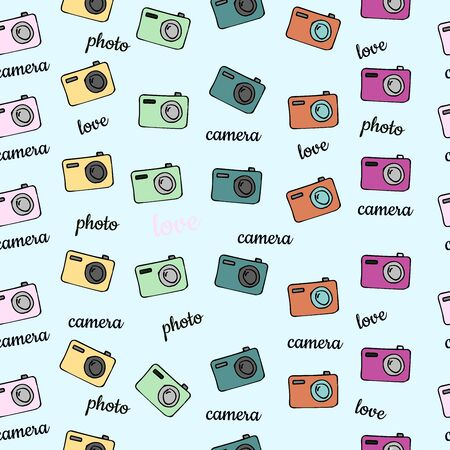 Seamless vector background pattern with isolated colorful camera in cartoon style for your design Banque d'images - 143367891