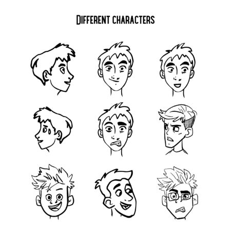 Sketched characters with different emotions