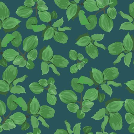 Seamless vector fresh green floral pattern with isolated leaves on blue background. Endless texture can be used for wallpaper, pattern fills, web page background, surface textures