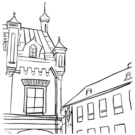 Hand drawn outline sketch of old city in doodle style. Architecture vector illustration  イラスト・ベクター素材