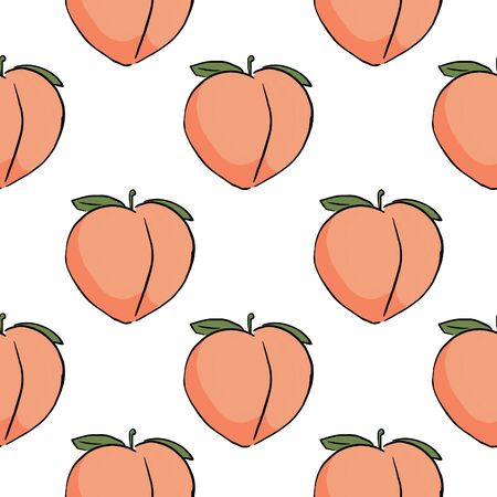 Seamless pattern with isolated peaches in cartoon style. Endless texture can be used for wallpaper, pattern fills, web page background, surface textures