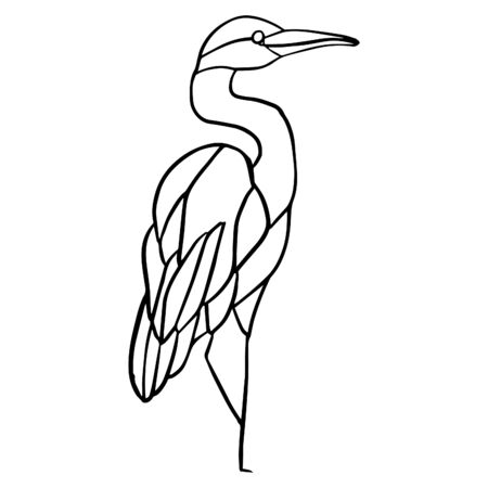 Outline hand drawn black and white isolated bird, heron. Simple vector illustration