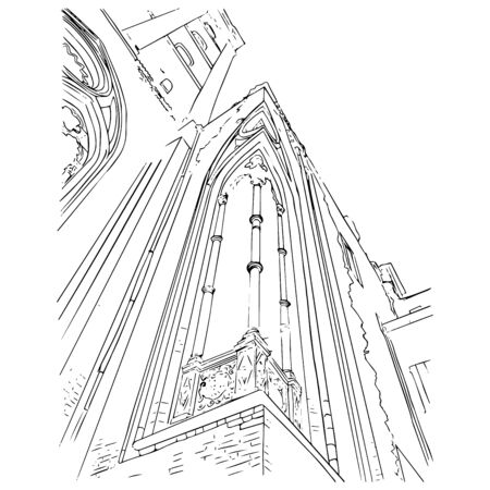 Hand drawn sketch of old building in Italy. Outline vector illustration