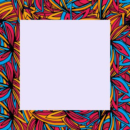 Seamless square abstract frame, vector illustration with colorful hand drawn elements for your design projects, photos, text Banque d'images - 143798216