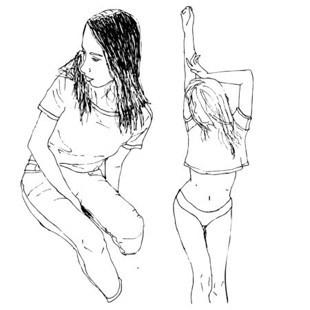 Sketch of people, vector Illustration, hand drawing. Outline two girls in doodle style