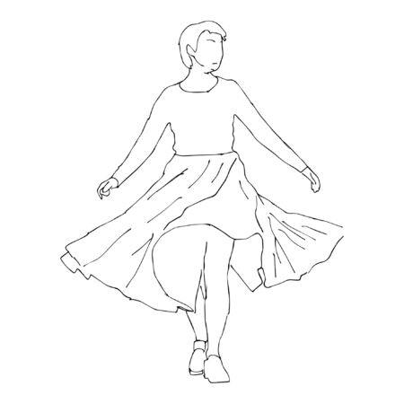 Girl in doodle style. Hand drawn sketched vector illustration. Spinning in a skirt