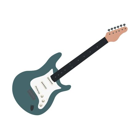 Simple icon of colorful isolated vector electric guitar. Vector illustration