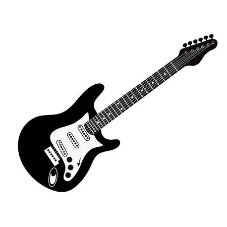icona in bianco e nero della chitarra elettrica. Illustrazione vettoriale