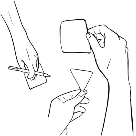 Set of sketch hand hold note in doodle style. Vector illustration