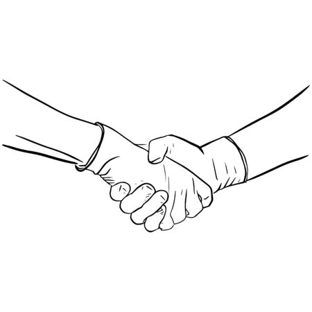 Outline sketch of gloved handshake. Vector illustration