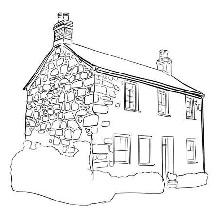 Outline sketch of isolated old building in doodle style. Vector illustration
