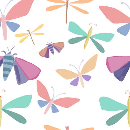 Seamless vector pattern with butterflies and insects in cartoon children style. Vector illustration