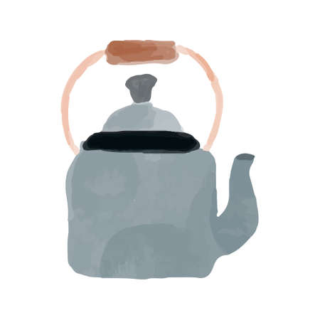 Isolated grey kettle with wooden handle in watercolour cartoon style. Vector illustration