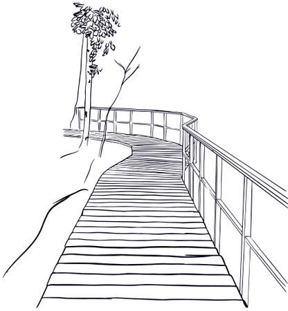 Outline sketch of wooden path in the forest. Terrenkur and ecological tourism concept. Vector illustration