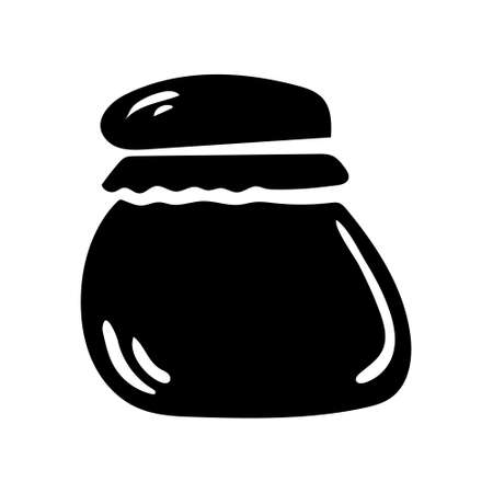 Isolated black glass jar of jam in minimal simple style. Vector illustration