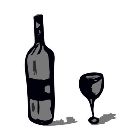 Wine glass and bottle in black and grey scale in doodle sketch style. Vector illustration 矢量图像