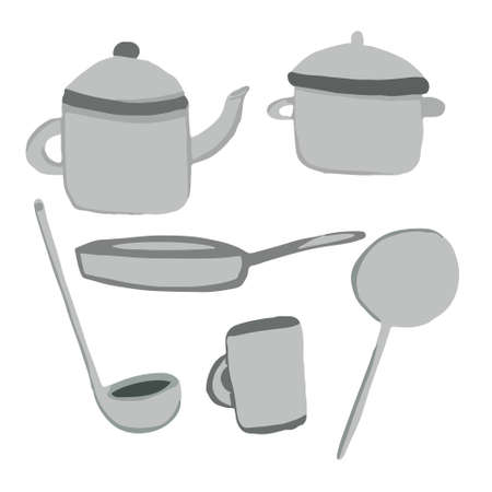 Cookware set pan with lid, ladle, frying pan, kettle, mug, saucepan and spatula in cartoon style. Vector illustration Vettoriali