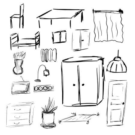 Outline hand drawn sketch of furniture and interior design elements. Vector illustration