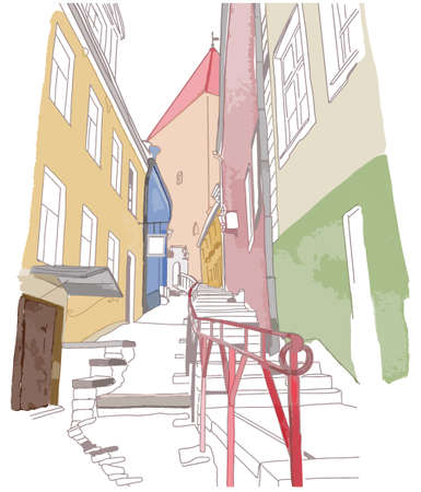 Colourful sketch of narrow street in cartoon style. Old town concept. Vector illustration
