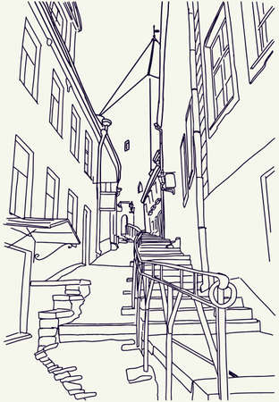 Hand drawn outline sketch of old town in Tallinn. Narrow street and ancient building in doodle style. Vector illustration