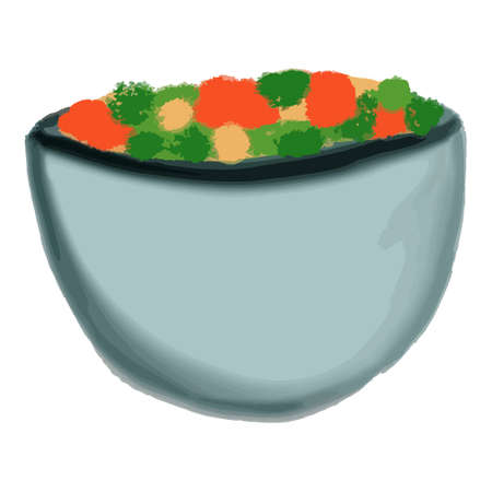 Isolated colourful bowl of salad with red yellow and green in cartoon style. Vector illustration
