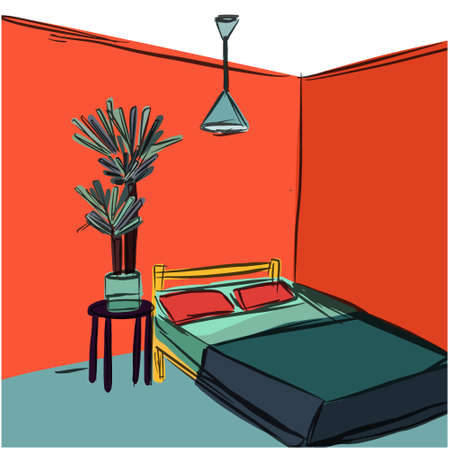 Colourful interior sketch of bed lamp and yucca plant in doodle style. Vector illustration