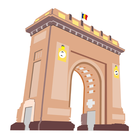 Arch of Triumph in Bucharest, Romania, as seen at night with lights on, isolated on white background. Tiny Romanian flag on top. Illustration