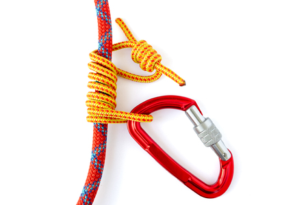 Forming an Autoblock knot (also called Machard or French Prusik) with a 5mm accessory cord around a 9.8mm climbing rope. Knot is finished when the carabiner passes through both ends of the loop.