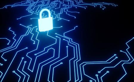 Cyber-Sicherheitskonzept. IT-Sicherheit.Schutzmechanismus, Systemprivatsphäre.Geschlossenes Vorhängeschloss mit Mikroschema.Sicherheitskonzept. - 3D-Rendering