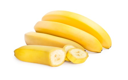 banana skin: Isolated bananas. Bunch of bananas with sliced banana isolated w