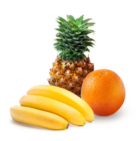 Tropical fruits: pineapple, orange and bananas isolated Zdjęcie Seryjne