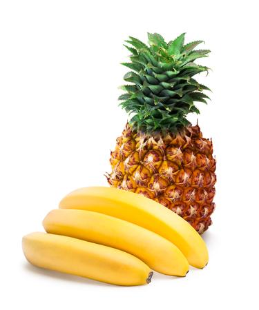 分離されたパイナップルとバナナ 写真素材