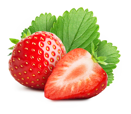 Strawberry with sliced half  isolated on white background Stock Photo