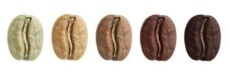 Un collage de grains de café montrant les différentes étapes de la torréfaction, des haricots verts à la torréfaction italienne