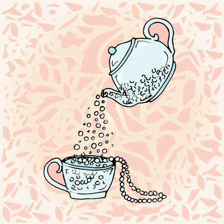 pearls and threads: Illustration teapot and cup, hand drawn