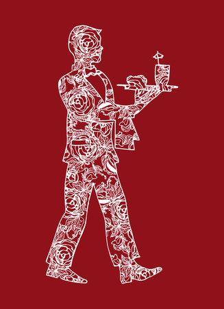 go inside: Illustration of a waiter. Man serving drinks and food.