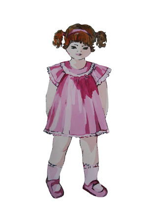 pink dress: Hand painted illustration of a child. Curly girl in pink dress. Autotraced. Illustration
