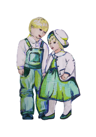 two children: Hand painted illustration of two children. Twins. Boy and girl. Autotraced.