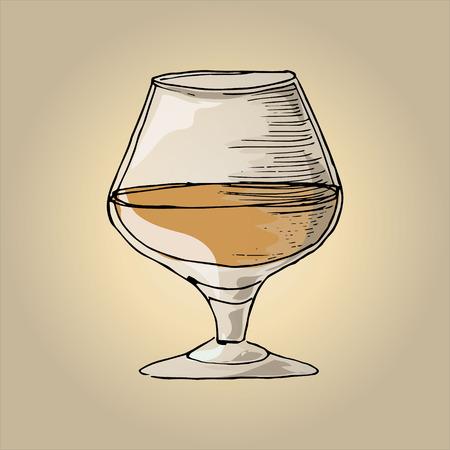 brandy: Illustration of brandy in a glass