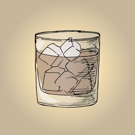 Illustration cola with ice in a glass
