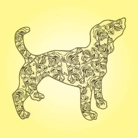 short haired: Illustration. Dog with flowers on a yellow background. Sketch. Illustration