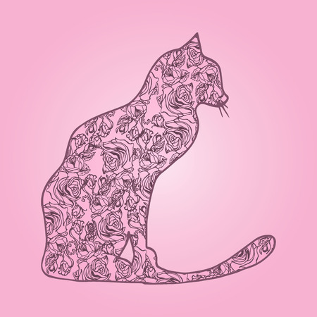 short haired: Illustration. Cat with flowers on pink background. Sketch.