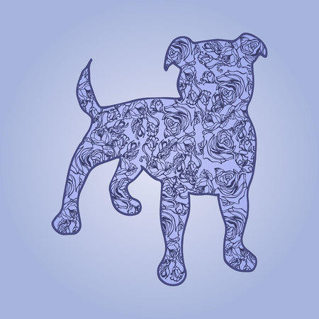 Illustration. Dog with flowers on a blue background. Sketch. Ilustrace