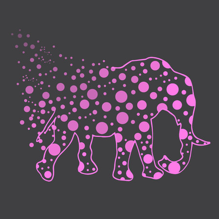 proboscis: Illustration. An elephant with polka dots. Sketch.