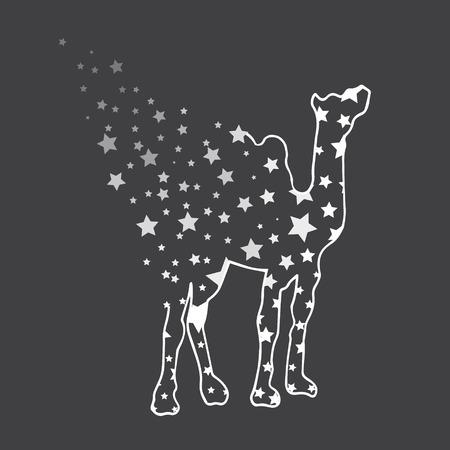 royal safari: Illustration. Camel with stars. Sketch.