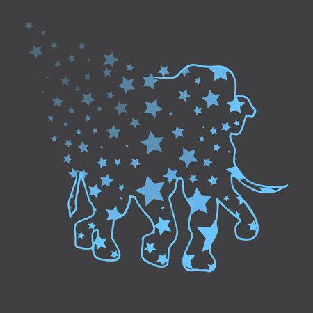 royal safari: Illustration. Elephant with stars. Sketch.