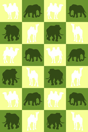royal safari: Illustration. Chess board with camels and elephants. Seamless pattern.