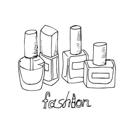 varnish: Illustration of cosmetics. Nail polishes. Outline drawing. Illustration